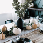 modern tablescape with wooden name place settings