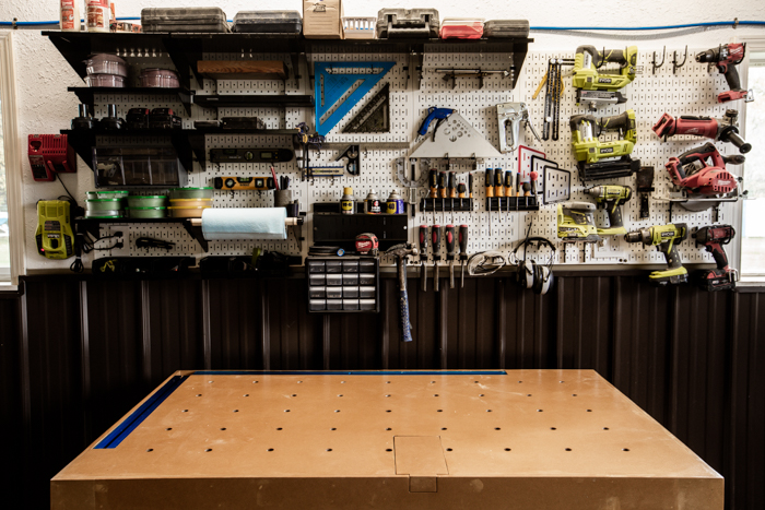 Organized shop pegboard