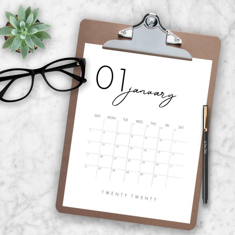 Beautiful calendar printable for 2020