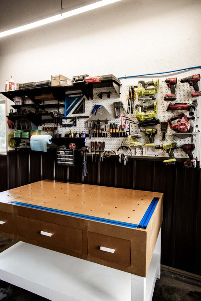 organized garage pegboard