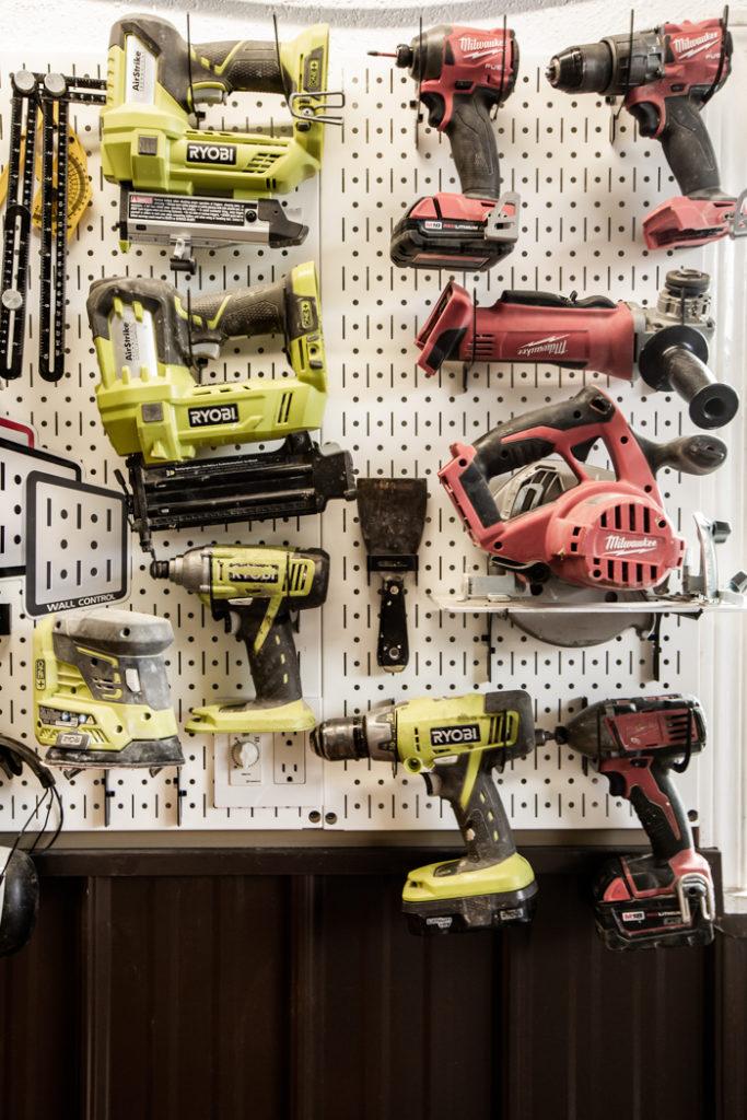 organized cordless tools