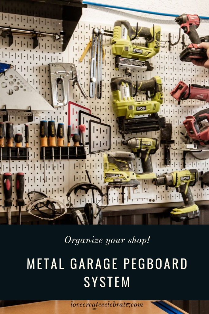 "garage organization collage with text overlay reading ""the metal garage pegboard system"""