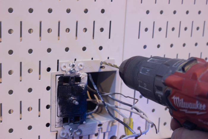 installing an outlet in metal pegboard