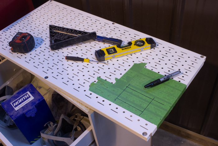 how to mark out an outlet on metal pegboard