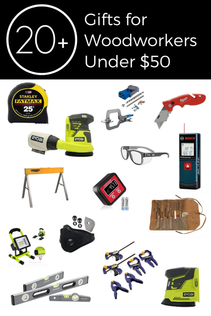 Collage of 20+ Great gift ideas for men under $50! Use these as gifts, stocking stuffers, or gift exchange presents! Great for woodworkers and mechanics!