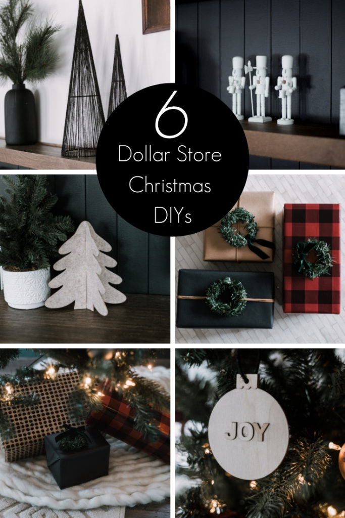 collage of modern dollar store Christmas DIYs