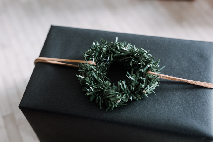Mini evergreen wreath for gift wrap