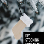 DIY stocking ornaments hanging outside