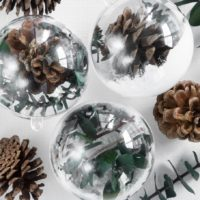Greenery Filled Bulb Ornaments