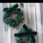 "mini wreath photo with text overlay reading ""DIY mini christmas wreaths"""