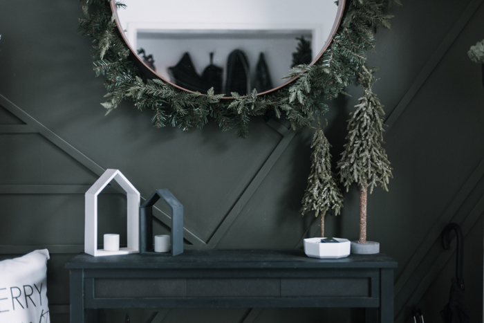 green, black, and white Christmas decor