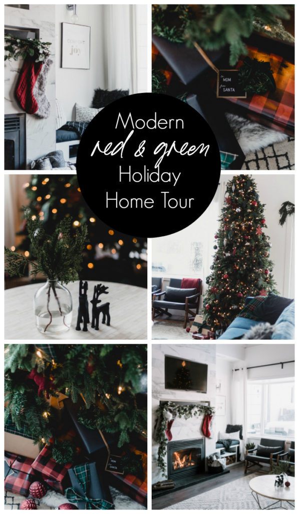 "Collage of modern holiday home pictures with text overlay reading ""modern red & green holiday home tour"""
