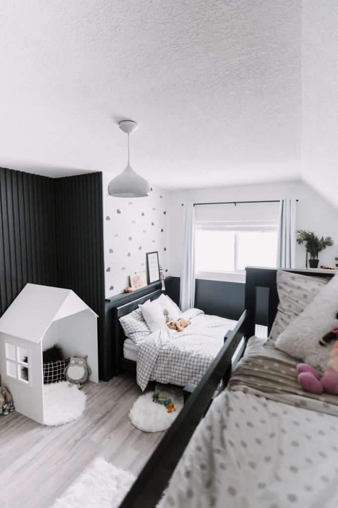 Shared kids bedroom with modern design renovated in one weekend