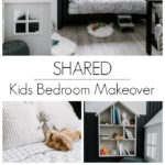 "Collage of modern bedroom photos with text overlay reading ""shared kids bedroom makeover"""