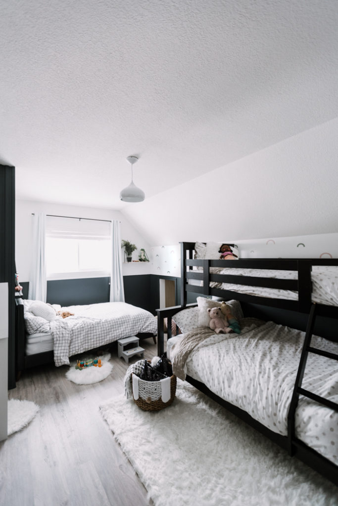 Shared bedroom makeover with bunk beds