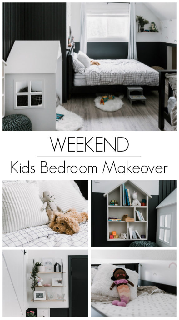 "Collage of kids bedroom photos with text overlay reading ""Weekend Kids Bedroom Makeover"""