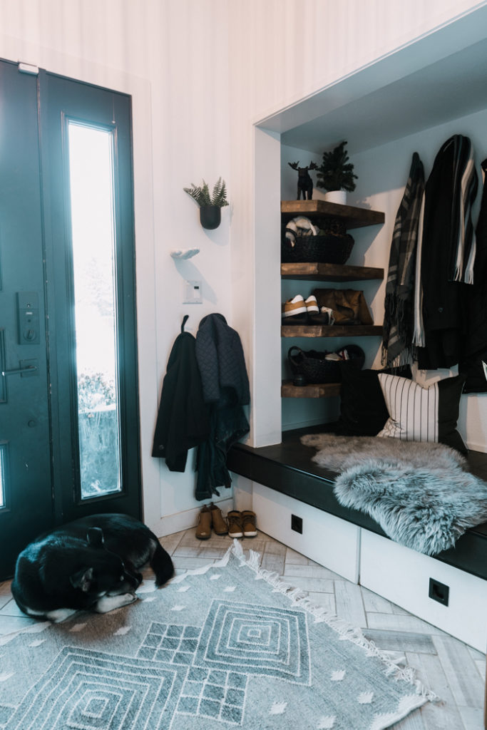 modern winter mudroom