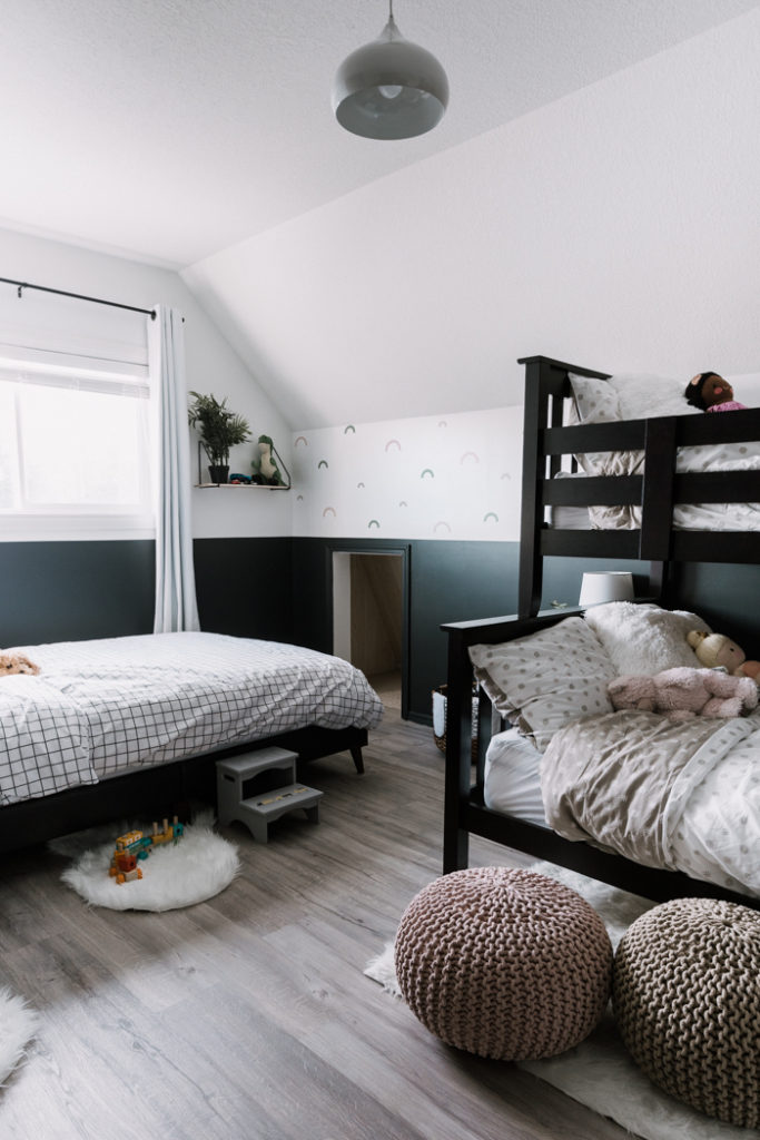 black and white shared bedroom makeover