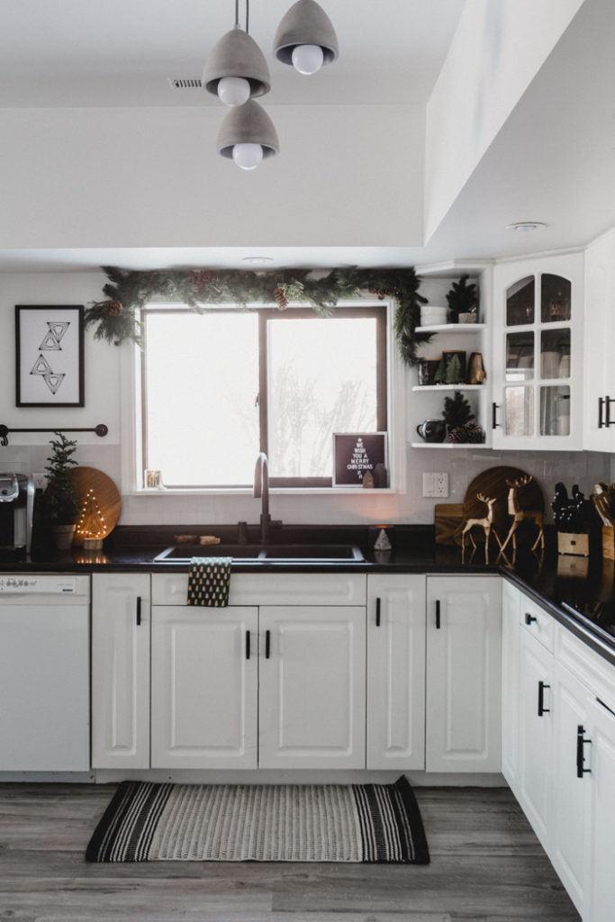 Christmas kitchen with window decorated