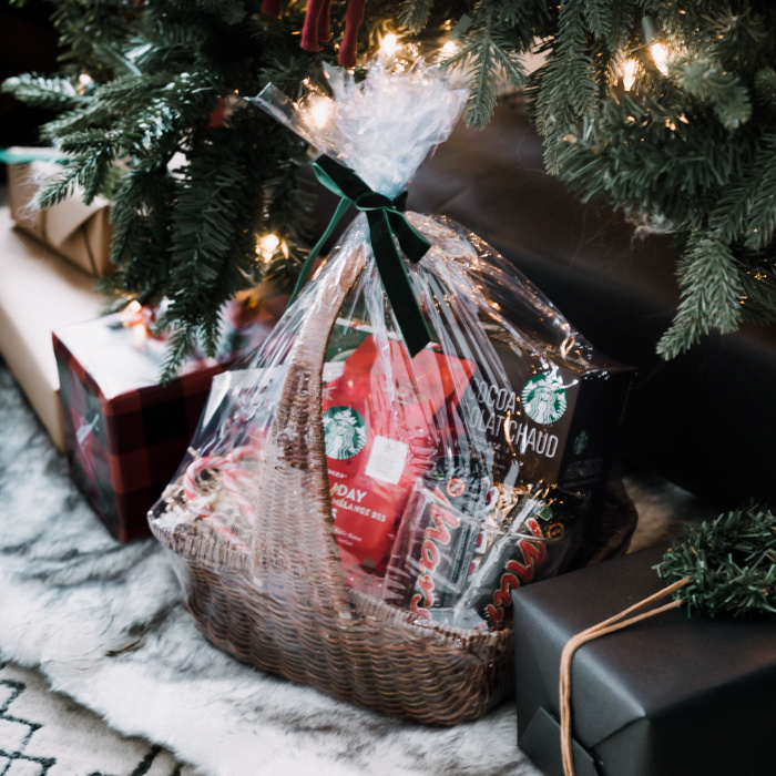 Cellaphane wrapped gift basket