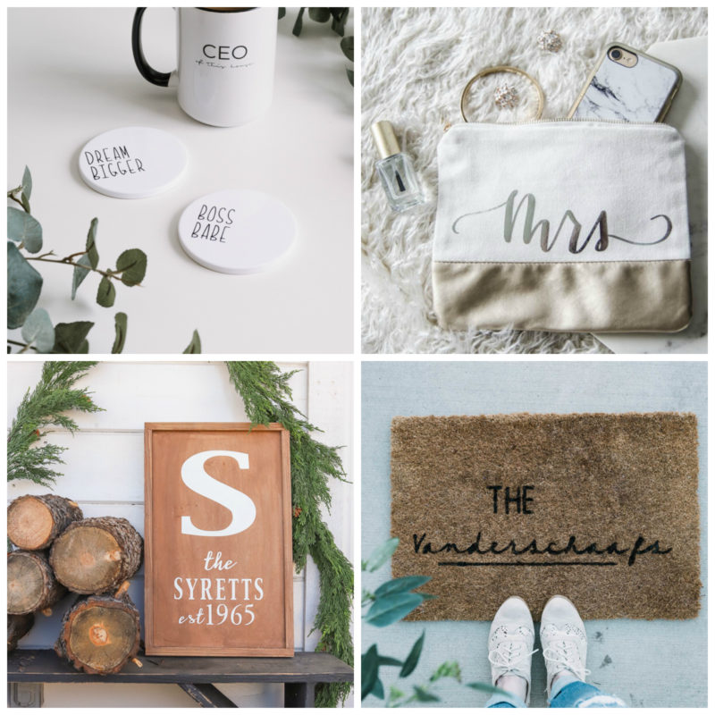 Collage of DIY Personalized gifts