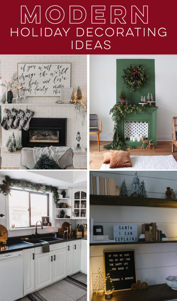 collage of modern Christmas decorating ideas