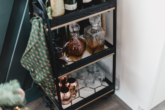 Bar cart styling for Christmas