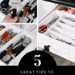 "Kitchen organization collage with text reading ""5 great tips to organize your cutlery drawers"""