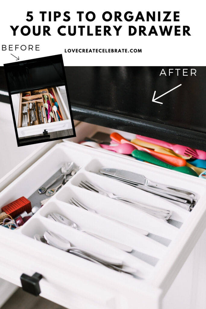 "before and after cutlery drawer photos with text reading ""5 tips to organize your cutlery drawers"""