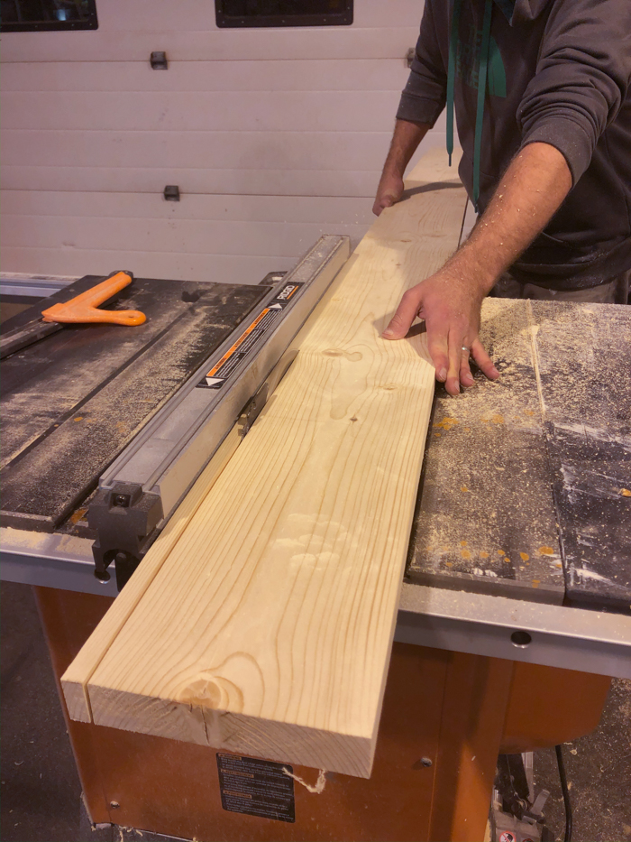 cutting wood slats for modern feature wall