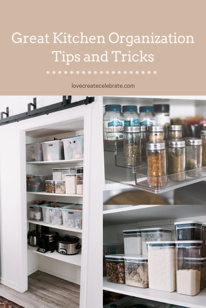 "beautiful, organized kitchen photos with text overlay reading ""great kitchen organization tips and tricks"""