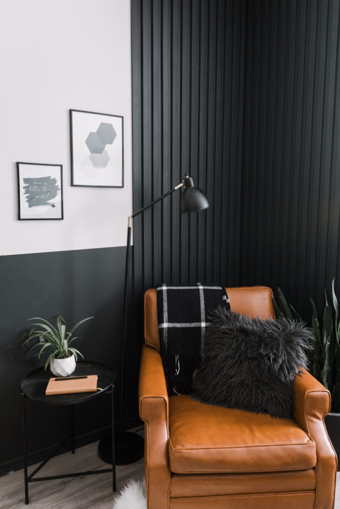 painted slat wall for bedroom