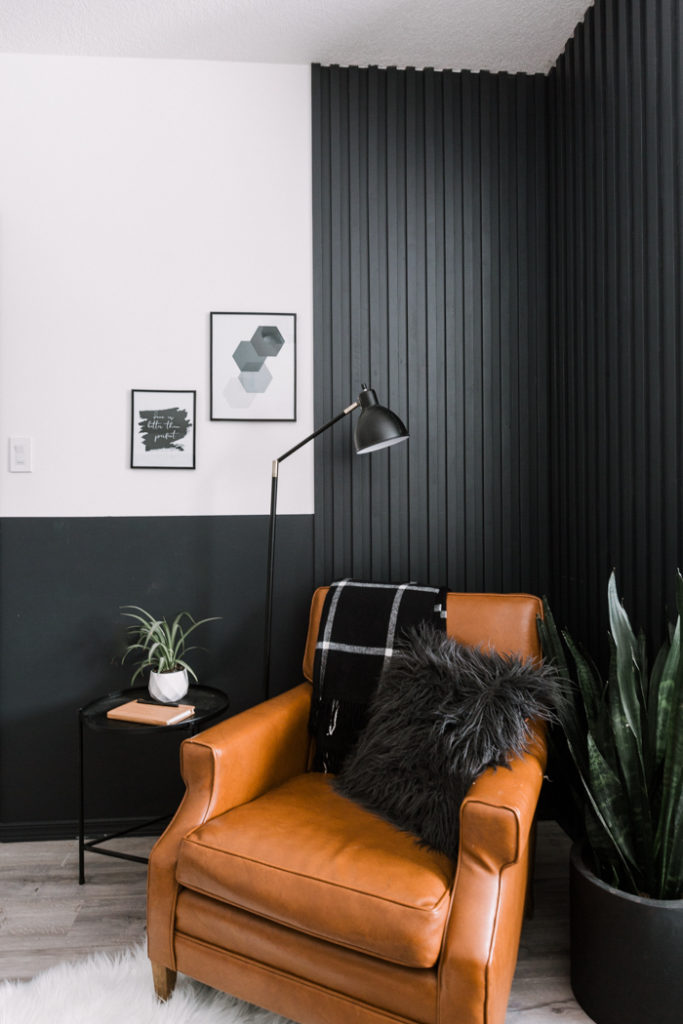 Wood Slat wall in reading nook