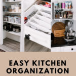 "collage of organized kitchen photos with text reading ""easy kitchen organization tips"""