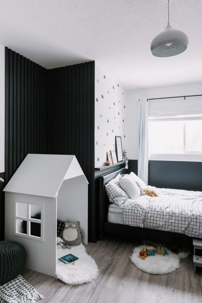 Picture ledge in a modern kids bedroom