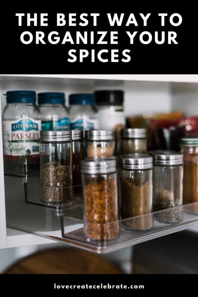 "photo of organized spice rack with text reading, ""The best way to organize your spices"""