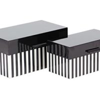 Rectangular Striped Wooden Boxes