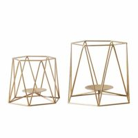 Brass Gold Metal Pillar Candle Holders