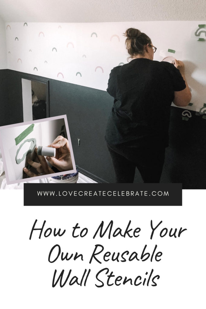 "collage photos of stencilling a wall with text reading ""How to Make Your Own Reusable Wall Stencils"""