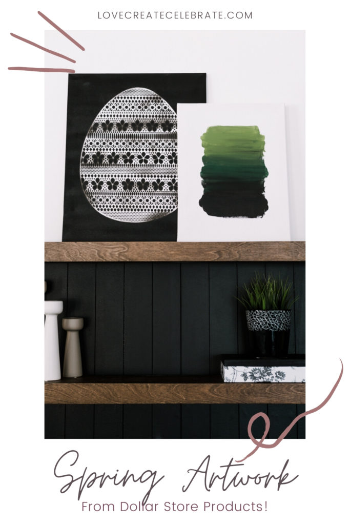 easy modern spring art on canvases
