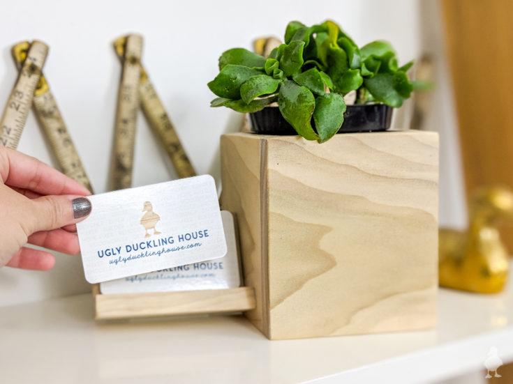 DIY Desk Planter + Business Card Holder