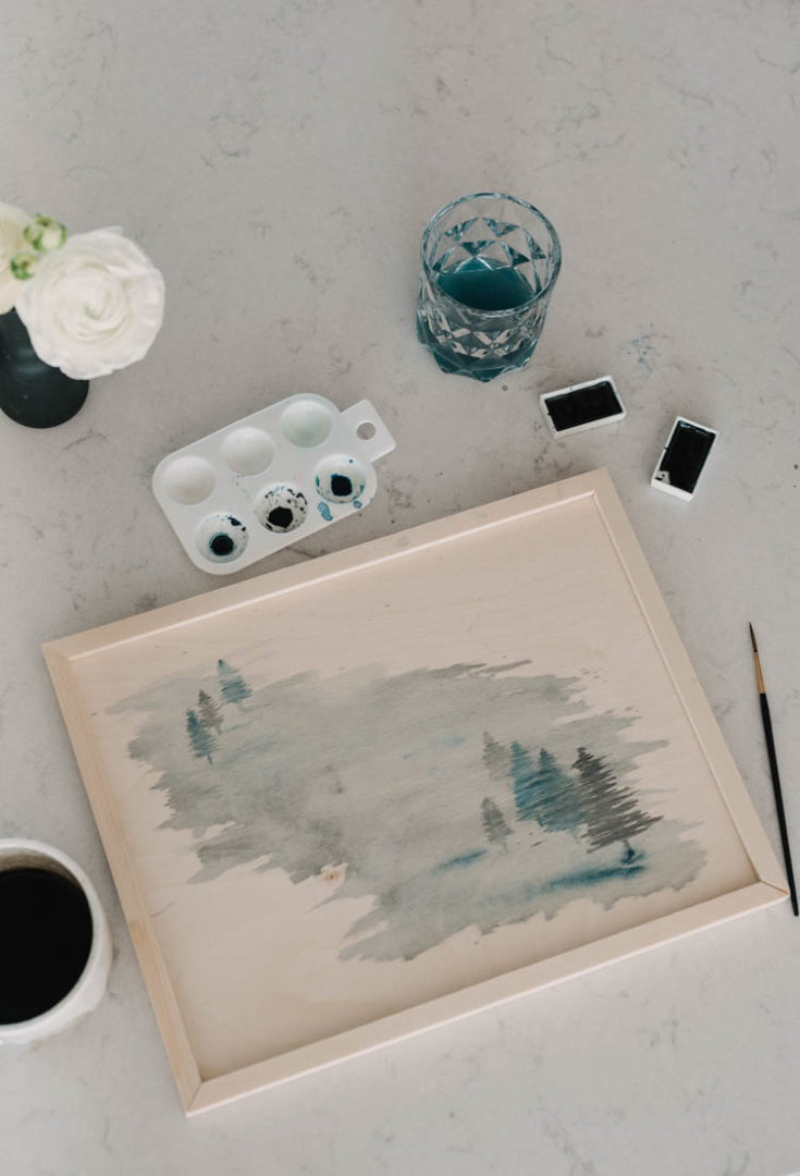 Watercolor Painting on Wood