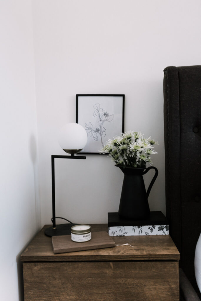 simple black and white night stand