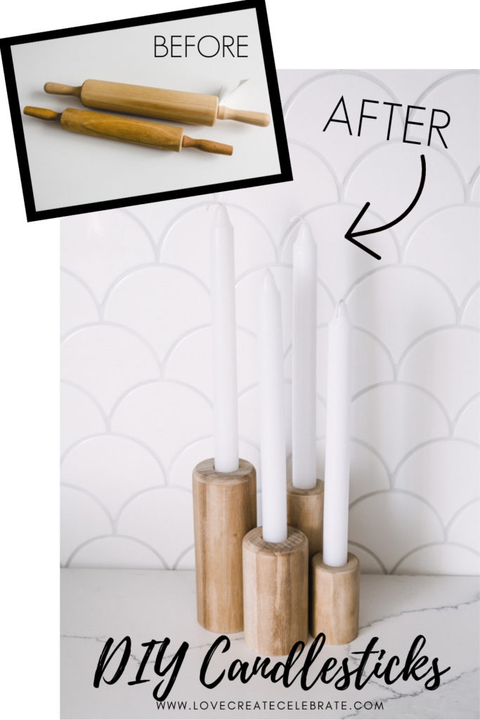 before and after of rolling pin candlesticks