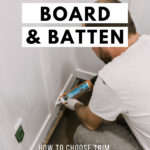 photo of sealing board and batten with text reading DIY Board and Batten