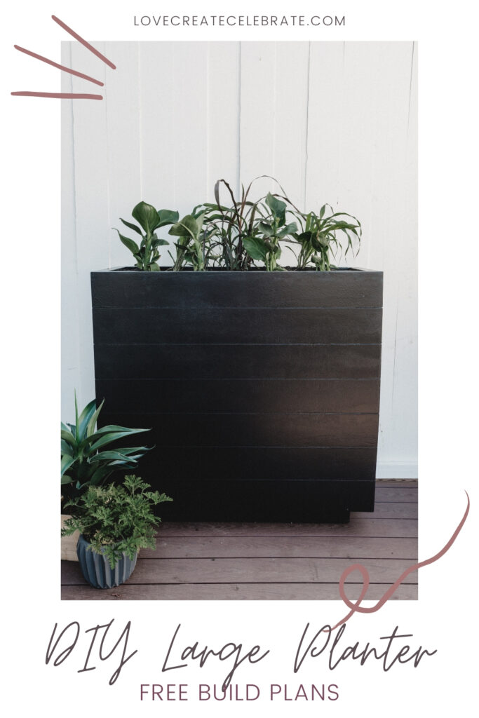 large planter box with text overlay reading DIY large planter