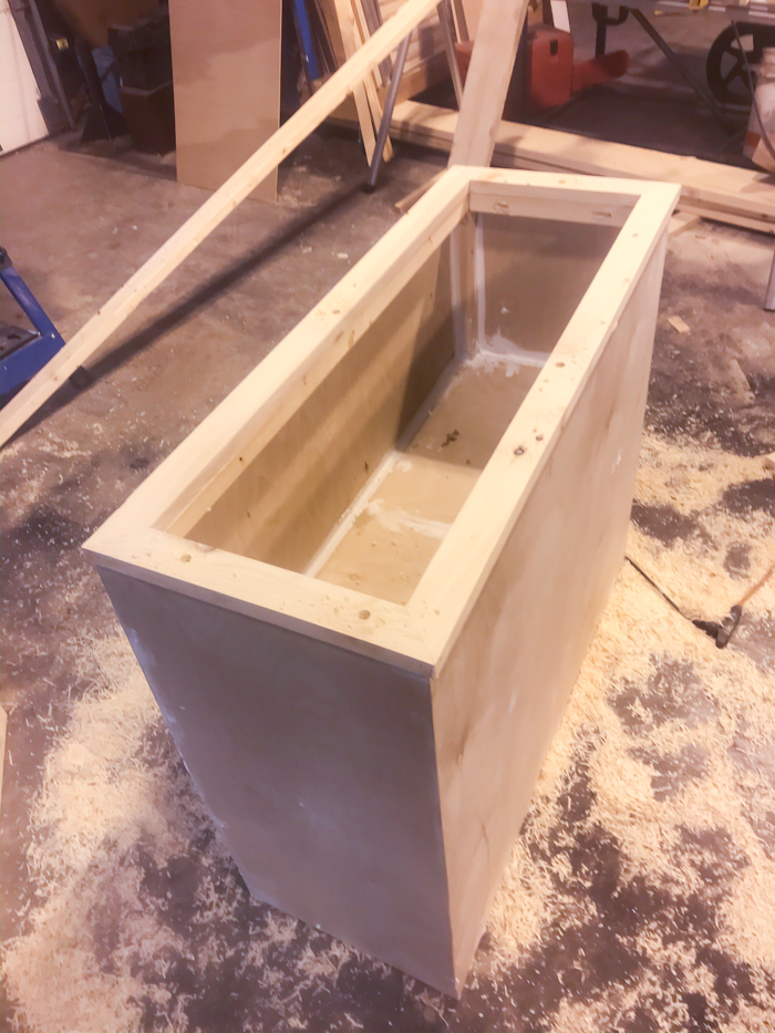 outdoor planter box frame with false bottom