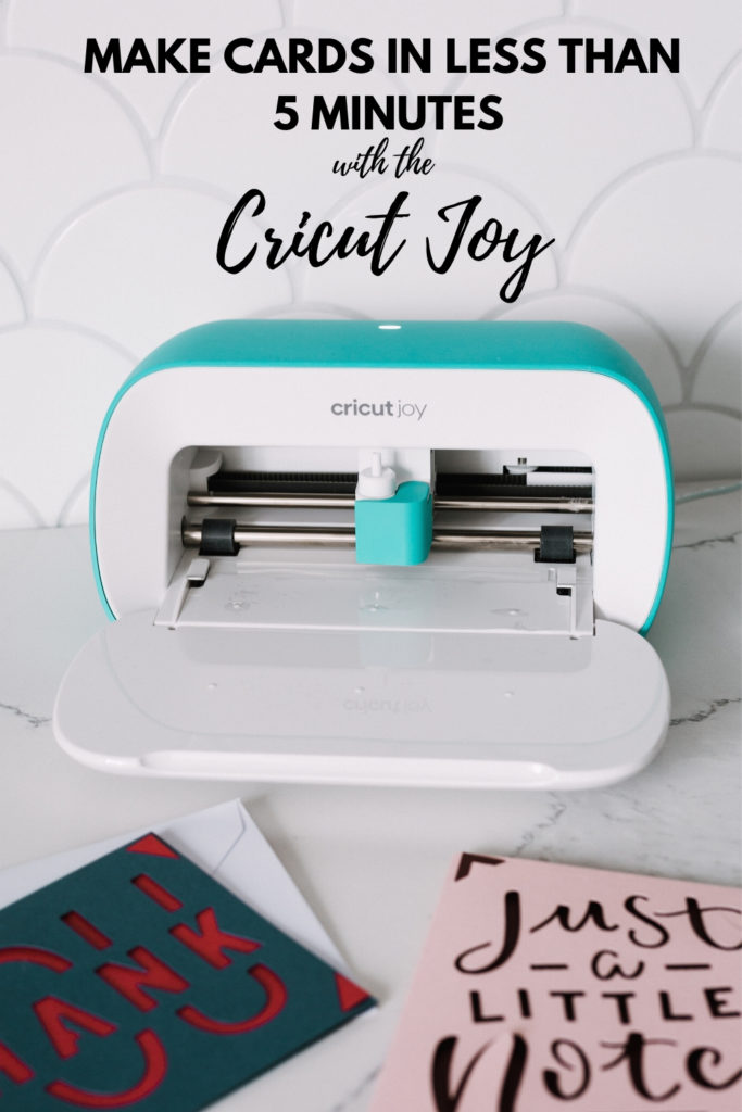 "Pciture of Cricut Joy with text reading ""Make cards in less than five minutes"""