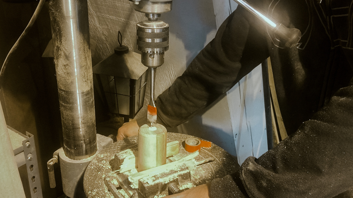 Drilling wood for candlesticks