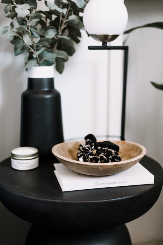wood bowl on night stand